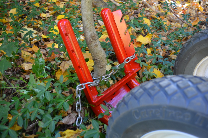 Levering Out A Small Tree With The Puller Note How Chain Wraps Completely Around Or Post In Addition To Providing Self Tensioning